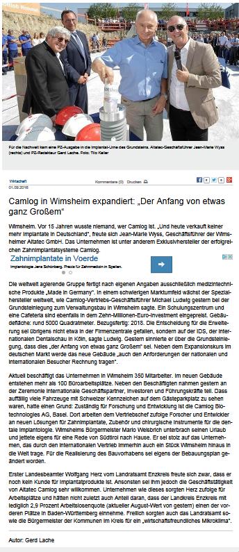 """Camlog in Wimsheim expandiert """"Der Anfang von etwas ganz Großem"""" - Wirtschaft -_2016-09-01_16-09-44"""