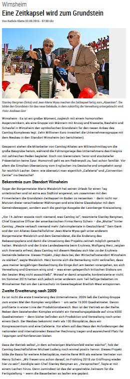 Wimsheim Eine Zeitkapsel wird zum Grundstein - Leonberger Zeitunng